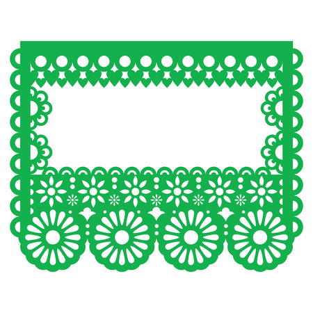 Papel Picado - Mexican paper decoration, template design - greeting card with flowers, hearts, and abstract shapes