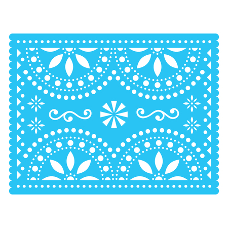 Papel Picado design, Mexican cutout greeting card with flowers and geometric shapes, traditional fiesta banner in blue Foto de archivo - 121924830