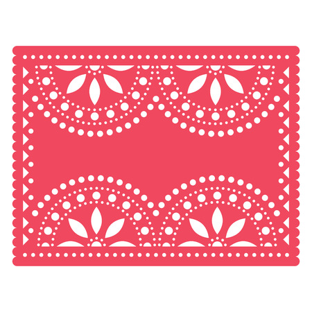 Papel Picado templater design, Mexican cut out paper with flowers and geometric shapes - greeting card, invitation