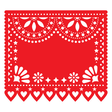 Papel Picado red floral design template with abstract shapes, retrop Mexican paper decoration