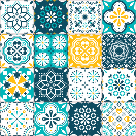 Lisbon Azujelo vector seamless tiles design - Portuguese retro pattern in turqouoise and yellow, tile big collection