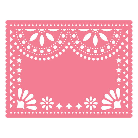 Papel Picado pink vector floral template design with abstract shapes, retro Mexican paper decorations pattern, traditional fiesta banner