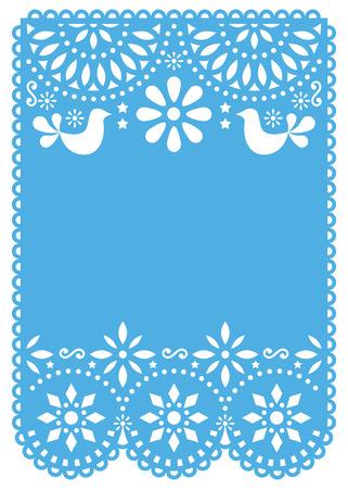 Invitation de mariage Papel Picado ou modèle vectoriel de carte de voeux - décoration mexicaine en papier découpé sans texte Vecteurs