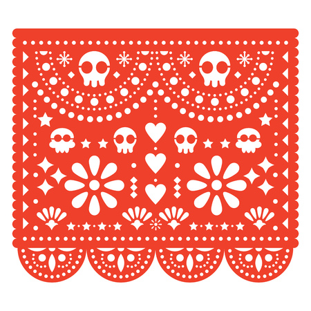Skulls Papel Picado vector design, Mexican paper cut out pattern - Dia de Los Muertos, Day of the Dead