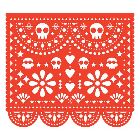 Skulls Papel Picado vector design, Mexican paper cut out pattern - Dia de Los Muertos, Day of the Dead