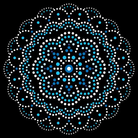 Diseño de pintura de punto de vector bohemio de Mandala, patrón decorativo tradicional aborigen, arte de mosaico australiano