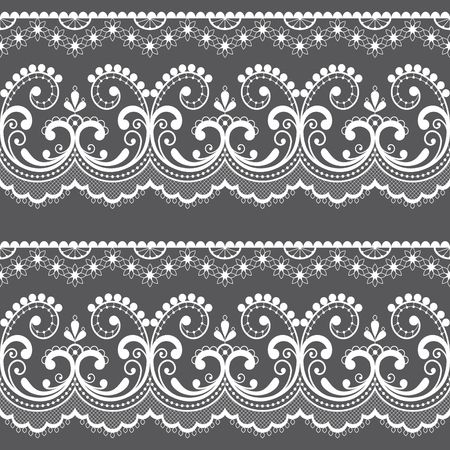 Victorian lace seamless design, old fashioned repetitive design with flowers and swirls in white on gray background