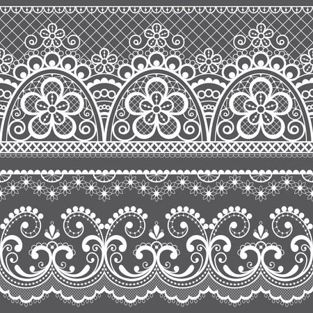 Decorative vintage lace seamless vector pattern, ornamental repetitive design with flowers and swirls in white on gray background