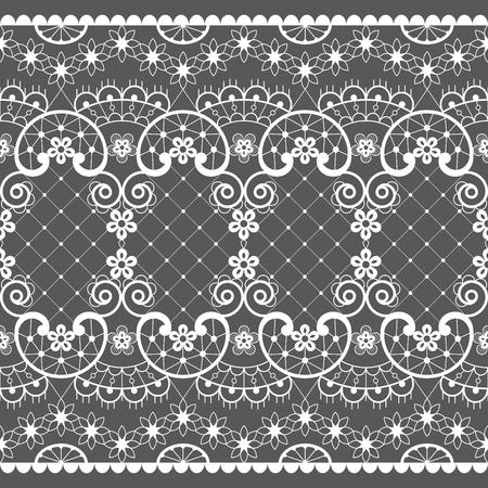 Modèle vectorielle continue de dentelle romantique, conception de dentelle de mariage vintage en blanc sur fond gris