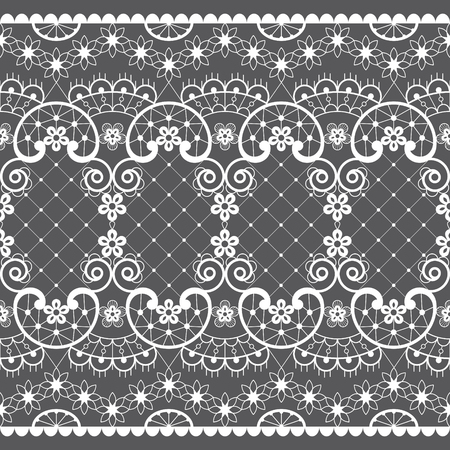 Romantic lace seamless vector pattern, vintage wedding lace design in white on gray background