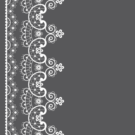 Vector lace seamless pattern, retro wedding lace border or frame design in white on gray background Illustration