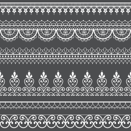 Lace openwork seamless vector pattern, retro ornamental repetitive design with flowers and swirls in white on gray background