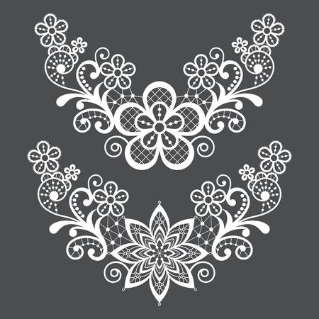 Lace single vector pattern set - floral lace half wreath, half circles design collection, retro openwork background Illustration