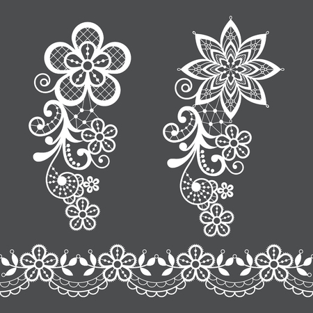 Vintage floral lace half wreath  single vector pattern set - ornamental lace design collection, retro openwork background Ilustração