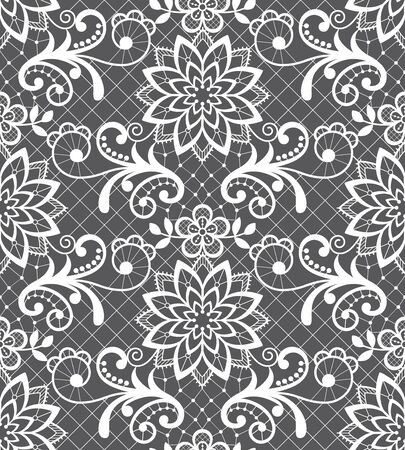 Seamless vector pattern - lace design with flowers and swirls, detailed ornament in white on gray background