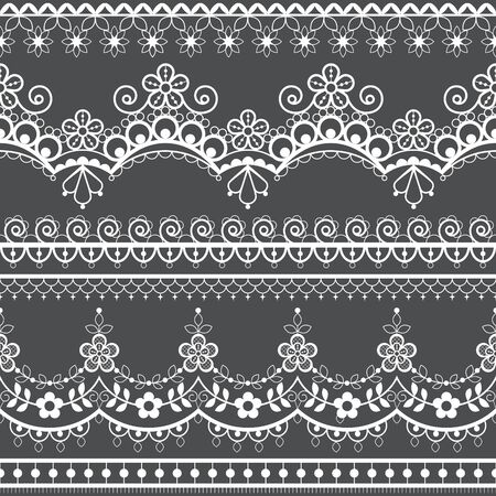Retro wedding French or English lace seamless pattern set, white ornamental repetitive design with flowers - textile design