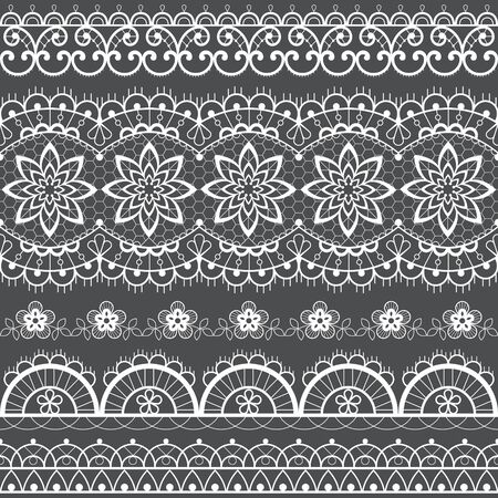 French or English lace seamless pattern set, white ornamental repetitive design with flowers - textile design