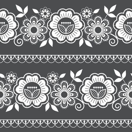 Seamless long lace pattern, ornamental design  with roses, flowers and swirls, detailed lace motifs