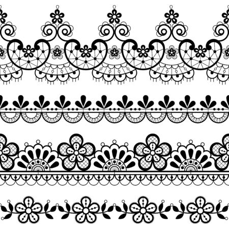 Vintage lace seamless vector pattern, ornamental repetitive design with flowers and swirls in black on white background Vettoriali