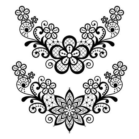 Lace single vector pattern set - black floral lace half wreath, half circles design collection, retro openwork background 向量圖像