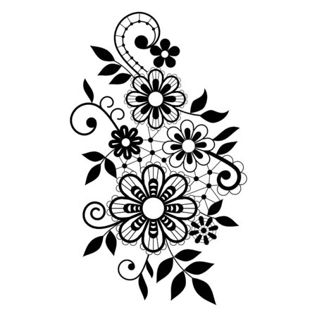 Retro lace vector single pattern, black ornamental design with flowers and swirls, detailed lace motif on white background