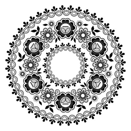 Round lace vector black pattern, retro mandala design with flowers and swirls on white background