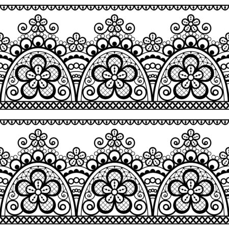 Lace vector seamless pattern, detailed retro ornament, lace design with flowers and swirls in black on white background Illustration