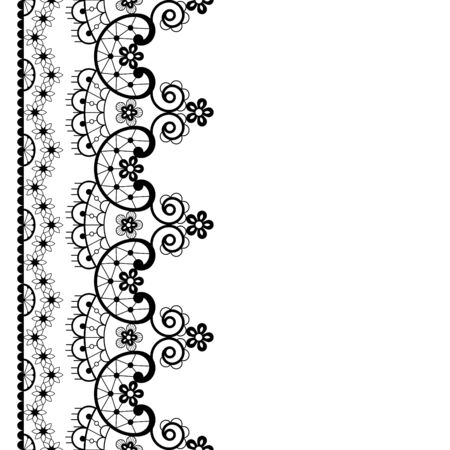 Vector lace seamless pattern, retro wedding lace border or frame design in black on white background