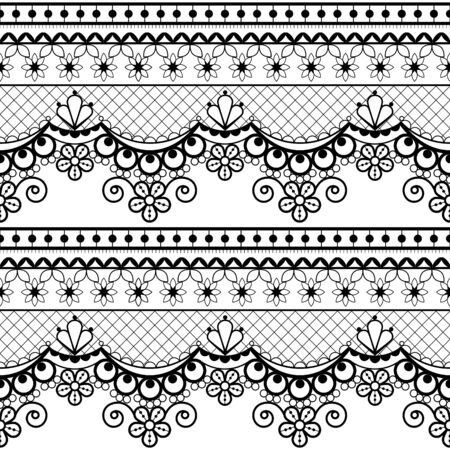Wedding lace French or English seamless pattern set, black ornamental repetitive design with flowers - textile design Illustration