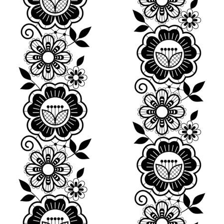 Seamless lace vertivcal long pattern set, monochrome horizontal design with roses, flowers and swirls, detailed