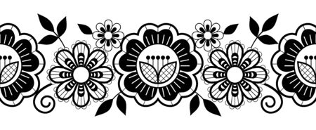 Seamless lace vertical long pattern set, black and white horizontal design with roses, flowers and swirls, detailed lace motifs