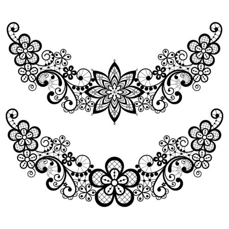 Vintage lace half wreath single vector pattern set - floral lace design collection, retro openwork background in black on white 向量圖像