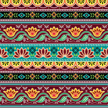Pakistani or Indian truck art vector seamless pattern, Indian truck floral design with flowers, leaves and abstract shapes in brown, orange and green