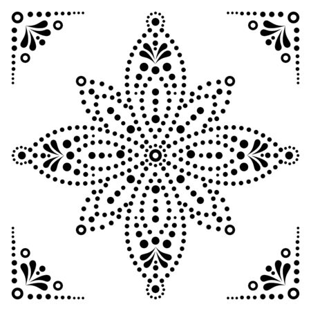 Dot art vector flower, traditional Aboriginal dot painting design, indigenous decoration from Australia in black on white background