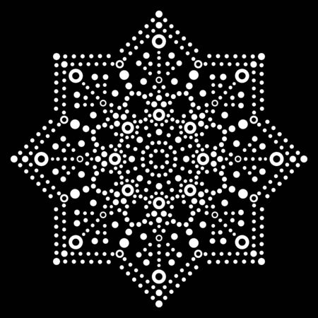 Dot art vector snowflake design - Christmas or winter pattern, traditional Aboriginal dot painting decoration, indigenous decoration from Australia