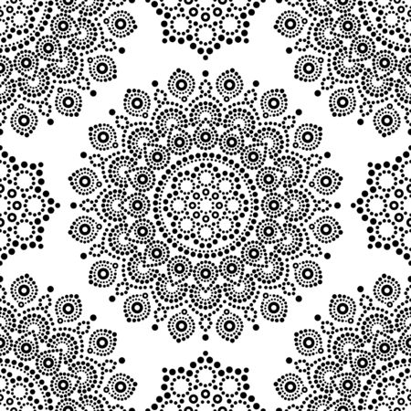 Dot painting monochrome vector seamless pattern with mandalas, Australian ethnic design, Aboriginal dots pattern in black and white background Ilustração