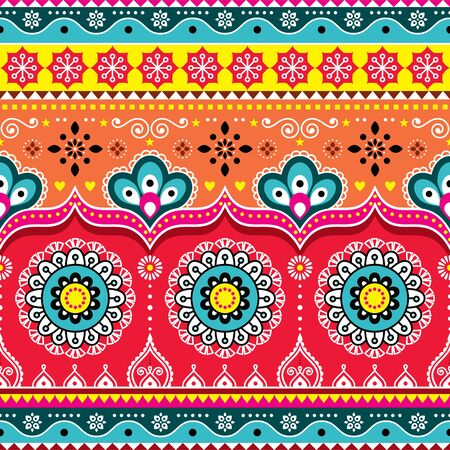 Pakistani or Indian truck art design, Jingle trucks seamless vector pattern, colorful floral repetitive decoration Ilustração