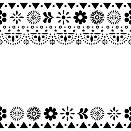 Mexican vector greeting card on invitaitons wtih flowers and abstract shapes in black and white
