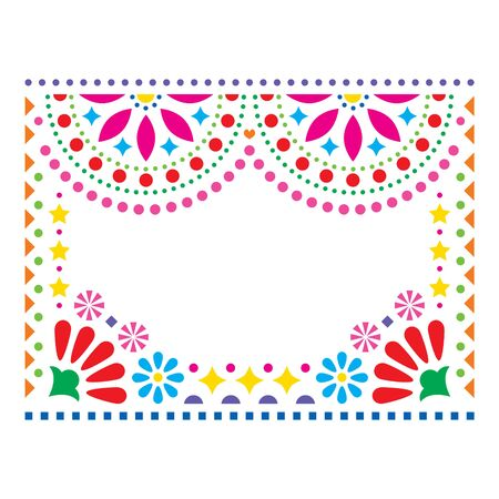 Mexican vector greeting card on wedding party invitation, happy vector pattern with geometric shapes and flowers, colorful design inspired by folk art from Mexico