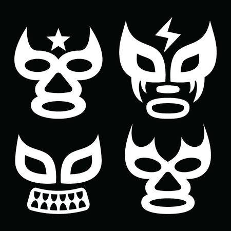Lucha Libre faces vector design, luchador or luchadora graphics - Mexican wrestling traditinonal male and female mask set Stock Illustratie