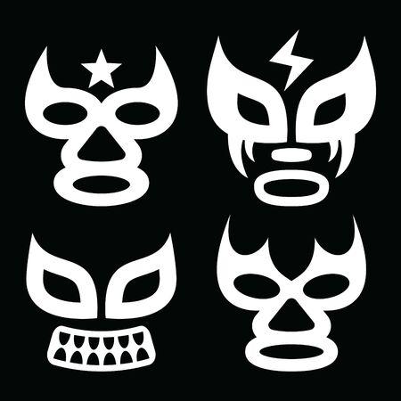 Lucha Libre steht Vektordesign, Luchador- oder Luchadora-Grafik gegenüber - mexikanisches Wrestling-Traditions-Maskenset für Männer und Frauen