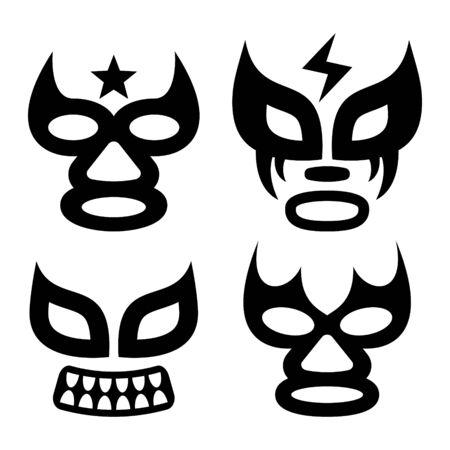 Lucha Libre steht Vektordesign, Luchador- oder Luchadora-Grafik gegenüber - mexikanisches Wrestling-traditionelles männliches und weibliches schwarzes Maskenset Vektorgrafik
