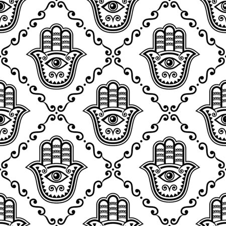 Hamsa hand seamless vector pattern, Khamsa or Hand of Fatima repetitive design, symbol of protection from devil eye background in black and white