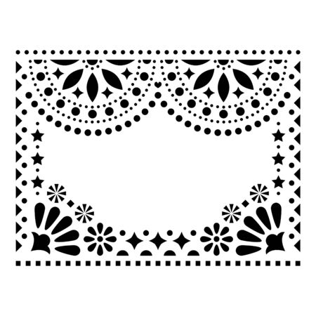 Mexican vector design elements, traditional folk art patterns from Mexico, black and white greeting card on wedding party invitation ornaments Illustration