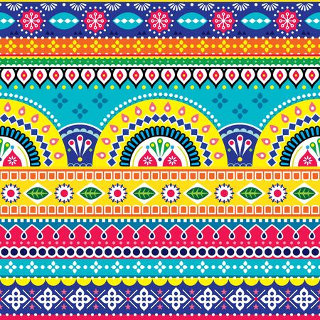 Pakistani or Indian vectopr seamless design inspired by truck art, vibrant pattern with geometric shapes and flowers Ilustração