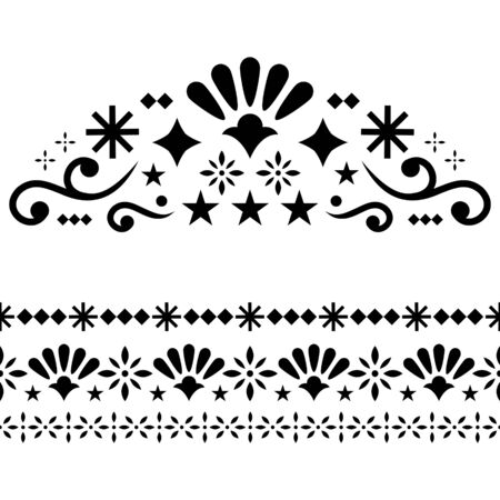 Mexican vector design elements, traditional folk art patterns from Mexico, monochrome greeting card on wedding party invitation ornaments