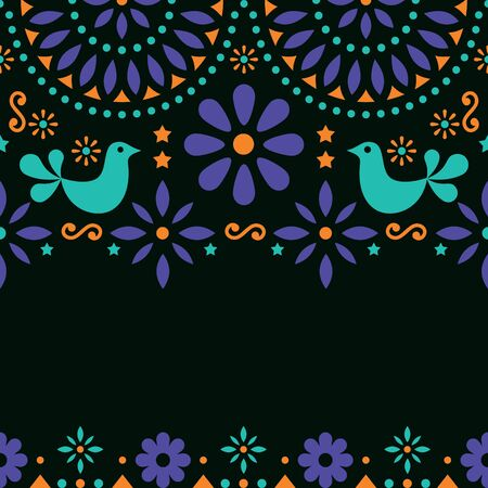 Mexican folk art vector greeting card, retro wedding or party invitation on black background Illustration