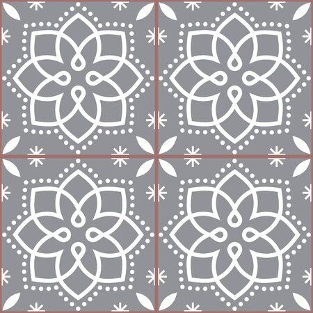 Geometric Azulejo vector tile seamless pattern inspired by Portuguese art, Lisbon style gray and white tiles background Stock Illustratie