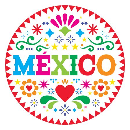 Mexico vector pattern, Mexican colorful folk art design, vibrant floral ornament