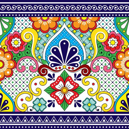 Mexican Talavera vector seamless pattern, repetitive background inspired by traditional pottery and ceramics design from Mexico  イラスト・ベクター素材